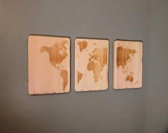 Sign, 3-pc set, World Map