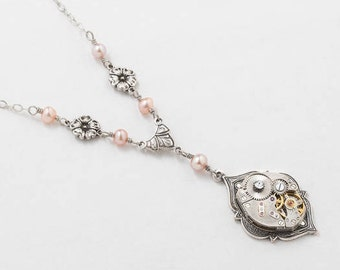 Steampunk Necklace with Vintage Watch Movement, Gears, Genuine Pink Blush Pearls & Swarovski Crystal on Silver Chain with Flower Charms