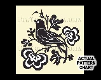 Bird Silhouette Cross Stitch, Black Bird Cross Stitch, Bird Silhouette, Bird Cross Stitch, Birds Silhouette, Birds from NewYorkNeedleworks
