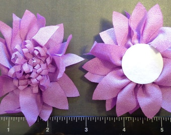 "2 Each 3"" Orchid - Lilac Blossom Center Fabric Flowers - Hair Bow Embellishment"
