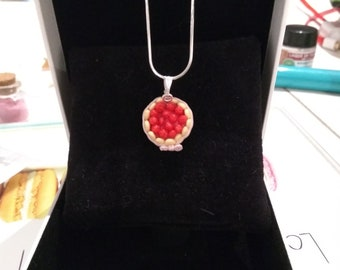Handmade strawberry pie pendant, jewelry gift
