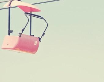 Iowa State Fair Art Print - Fine Art Carnival Photography Print - Minimalist Ride Chair Sky Negative Space Home Decor Photo