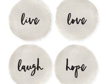 Live, Love, Laugh and Hope Cotton Canvas Drink Coasters, Housewarming, Holiday Decor, Thanksgiving, Christmas, Gift, Hostess, Set of 4