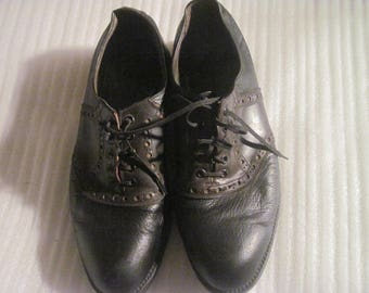 Men's Vintage REAL MC COY Leather Lace-Up Golf Shoes w/ Metal Spikes, Size 12