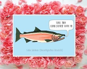 Coho Salmon Valentine, Coho Pun Valentine, Salmon Pun Valentine, Angler Pun Valentine, Salmon Illustration, Fish Pun Blank Valentine
