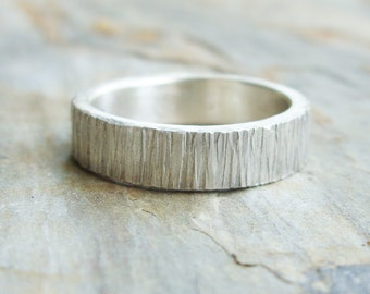 Personalized Tree Bark Wedding Band for Men or Women - Bright Silver Wood Grain Ring - Flat Rectangular Band