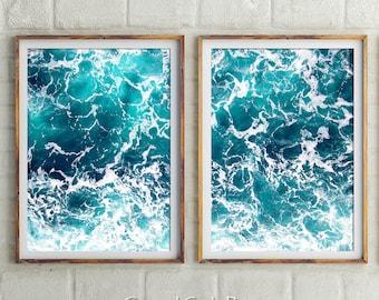 Set Of 2 Ocean Prints, Coastal Wall Decor, Ocean, Turquoise Blue, Sea Prints, Blue Wall Art, Water, Prints, Digital Print, Ocean Photography