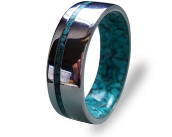 Stainless Steel Ring for Women and Men with Turquoise Inlay, Steel Ring with Turquoise Inner, Turquoise Ring, Mirror Finish