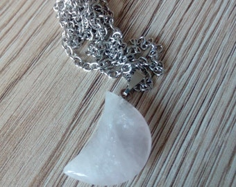 Rose Quartz healing crystal crescent moon pendant necklace