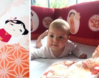 crib bumper  - ASIA GIRL! Adorable Kokeshi!