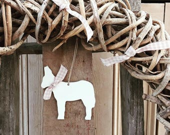 Hanging Donkey Decoration, Donkey Ornament, Hand Painted Wooden Donkey, Cute Donkey Gift, Easter Decoration, Donkey Lover Gift, Nursery
