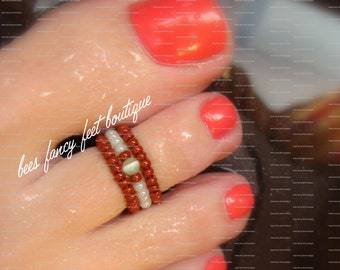 Stacking Toe Ring, Stacking Rings, Cats Eye Bead, Brown Beads, Green Beads, Toe Ring, Ring, Stretch Bead Toe Ring