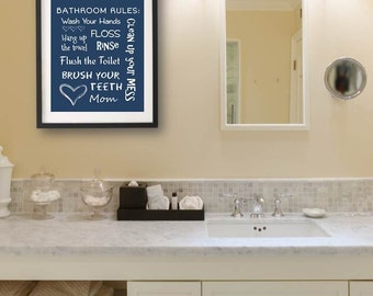 Kids Bathroom Art Decor Bathroom Artwork Printable Art Print Instant Download Bathroom Wall Quote Sign Bathroom Rules