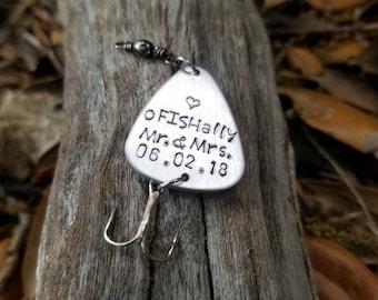 Personalized Wedding Gift, Fishing Lure, oFISHally Mr. & Mrs., Hand Stamped Engagement Gift