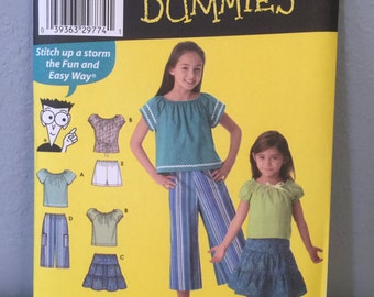 Simplicity Sewing for Dummies Sewing Pattern 4206 Children's Girls Top Skirt Shorts Size K5 7 8 10 12 14