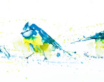 Blue Tits  in a Row - Signed Limited Edition print of my original Watercolour Painting