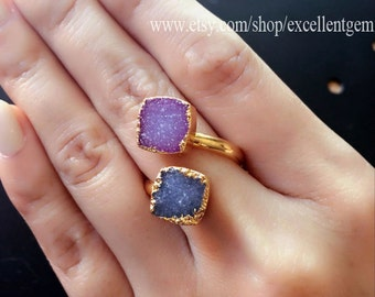 Druzy ring // Druzy jewelry // adjustable ring // Double Druzy Ring // gold druzy ring // Druzy Geode Ring // multistone ring- R- 83947-4997