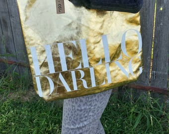 "Gold ""HELLO DARLING"" tote bag - school bag - book bag"