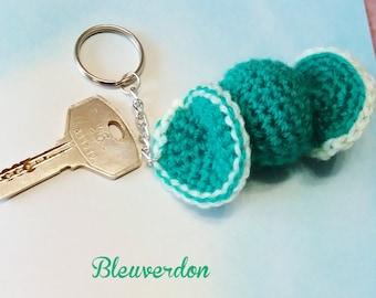 Green hand crocheted keychain