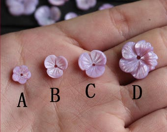 10pcs Purple Carved Mother of Pearl Shell Flowers   - natural mother of pearl beads - MOP beads for jewelry design(BK1028)