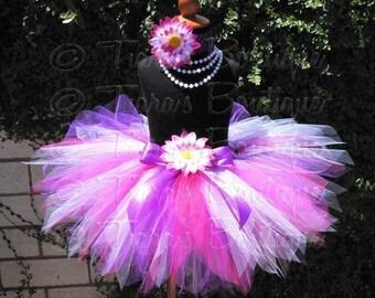 Pink Purple White Tutu, Girls Birthday Tutu, Eolande, Custom Sewn Pixie Tutu