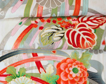 Bold Blossoms with Metallic Silver  // Japanese Kimono Fabric // Last Piece!