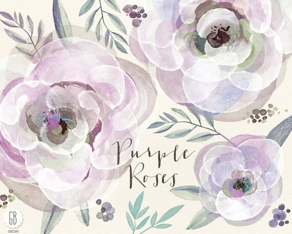 Aquarell lila lila Rosen und viel Grün hand gemalten Blumen