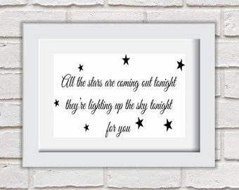 All The Stars Are Coming Out Tonight Framed Quote Print Mounted Word Art Wall Art Decor Typography Inspirational Quote Home Gift