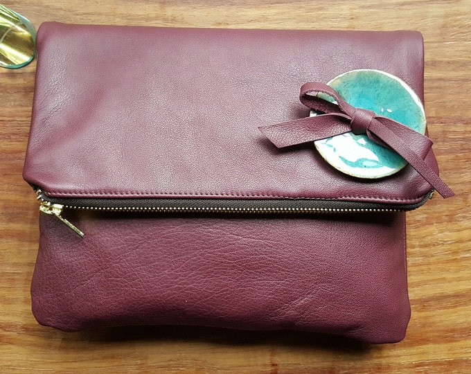 "Leather ""Raspberry"" Foldover Clutch**"