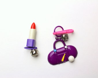 Vintage 80s Plastic Purple Necklace Charm - Choice of Butterfly, Red Lipstick or Sports Gym Bag - Silver Bell Clip On Sport Baseball