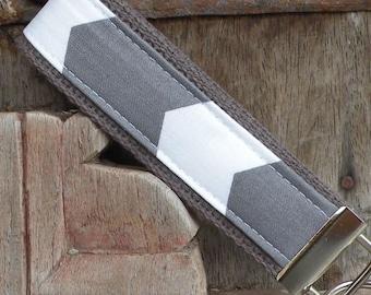 Wrist Key Chain--Wristlet--Key Chain- Gray Chevron