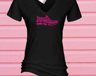 Rhinestone Breast Cancer Ribbon Shoe  Tshirt