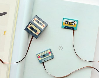 Cassette Tape Magnetic Bookmark Magnet • Old Compact Cassette Magnetic Page Clips