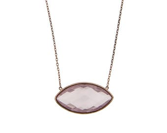 Checkerboard Double sided Rose Quartz Necklace, 14k Rose Gold