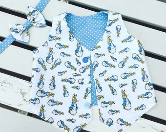 Beatrix Potter Peter Rabbit Flopsy Bunny lined waistcoat vest and bow tie wedding christening set for baby toddler boys 12 months to 4 years