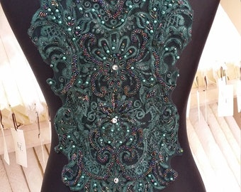 Dark green beaded lace applique, Embroidered lace applique, French Chantilly lace applique, 3D bridal lace applique, KR5004