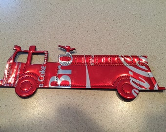 Fire Truck- Fire Fighter Fire Man Christmas Ornament Recycled Soda Can Art- Made from Coca Cola soda pop can
