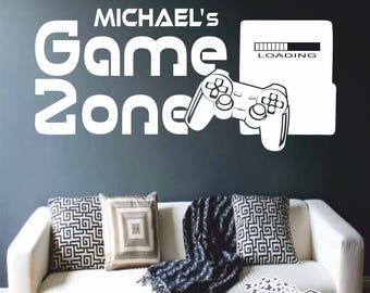 Game Zone Custom Wall decal with Name Gamer Console Player Gaming Wall Art Vinyl Sticker Mural Video Games Play Player Station