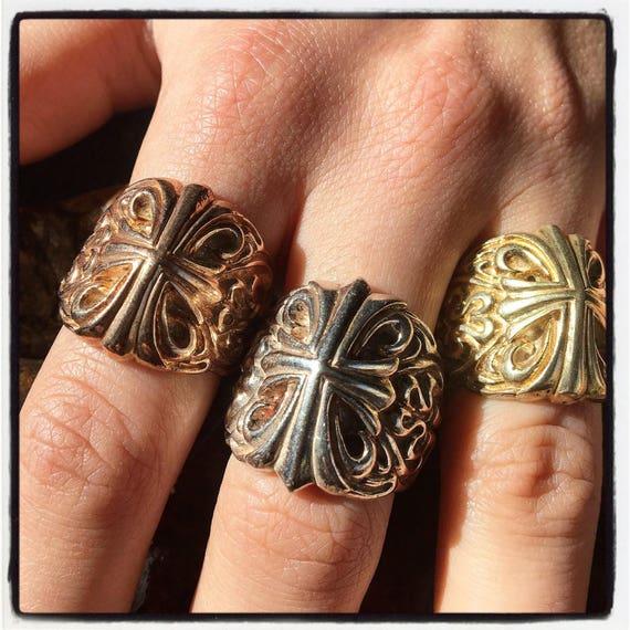 Etherial Jewelry - Rock Chic Talisman Luxury Biker Custom Handmade Artisan Pure Sterling Silver .925 Handcrafted Cross Templar Designer Ring