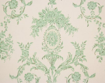 1960s Vintage Wallpaper Turquoise Rose Medallion and Scroll by the Yard