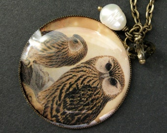 Brown Owl Necklace. Owl Pendant Necklace with Taupe Crystal and Fresh Water Pearl Charm. Handmade Jewelry.