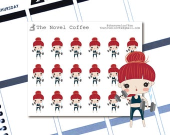 Planner Stickers Doodle Girl Working Out - Erin Condren Life Planners - NC65