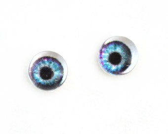 6mm Teal and Purple Doll Glass Eyes Cabochons - Tiny Glass Eyes for Jewelry or Doll Making - Set of 2