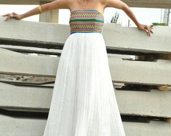 Ethiopian dresses/ Strapless cotton dress/ Strapless maxi dress/ Long strapless dress/ Ethnic maxi dress/ Organic maxi dress