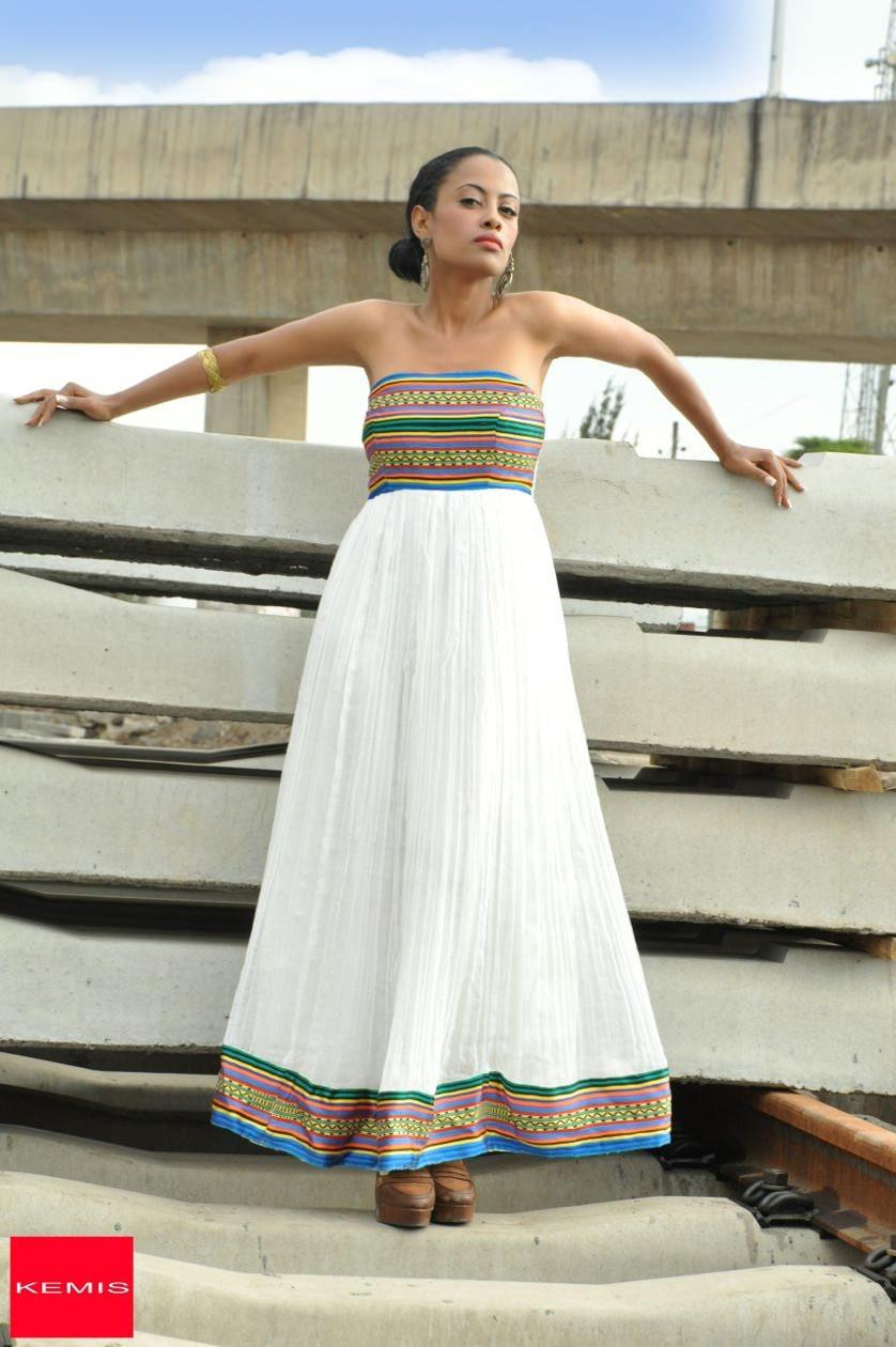 Äthiopische Kleider / trägerlosen Baumwolle Kleid /