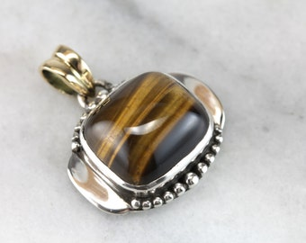 Tiger Totem: Tiger's Eye Pendant in Gold and Silver, One of a Kind  KLDA9M-N