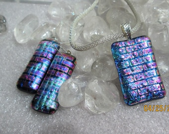 Dichroic Glass Pendant and Earrings-  Fused Glass Pendant and Earrings ,  Silver Mesh Chain included - Silver Bail