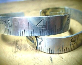 Vintage Ruler Bracelet Repurposed Up-cycled Aluminum & Brass Cuff Him or Her Graphic Carpenter Dressmaker Seamstress