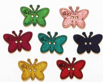 Wooden Butterfly button multicolor 23mm - set of 10 - 2631