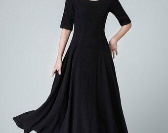 Black linen dress, linen dress, A line dress, maxi dress, womens dresses, linen summer dress, fit and flare dress, long linen dress 1467